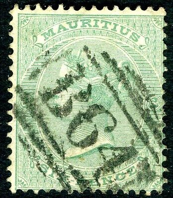SEYCHELLES-MAURITIUS-1863-72 6d Blue-Green Used in Seychelles Sg Z23  FINE USED