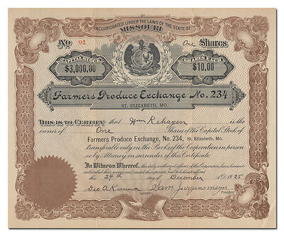 Farmers Produce Exchange No. 234 Stock Certificate (St. Elizabeth, MO)