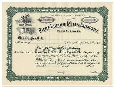 Pilot Cotton Mills Company Stock Certificate (Raleigh, North Carolina)