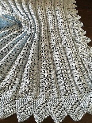 Hand Knitted Blue Baby Boys Blanket /  Shawl New!