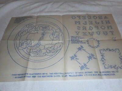 Large Vintage Embroidery Iron on Transfer-Fancy N'Work No.116-Flowers/Alphabet