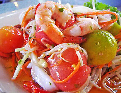 Spicy Papaya Salad with Seafood Very Famous Thai Food Recipe Digitally Delivered