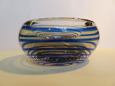 Beautiful Antique Blue Spiral Striped Hand Blown Art Glass Ash Tray /small Bowl