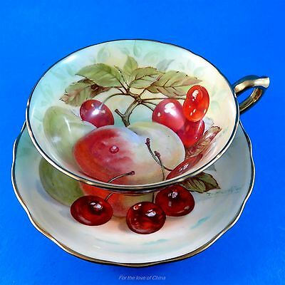 Rare Handpainted Signed All Fruit Hammersley Tea Cup and Saucer Set