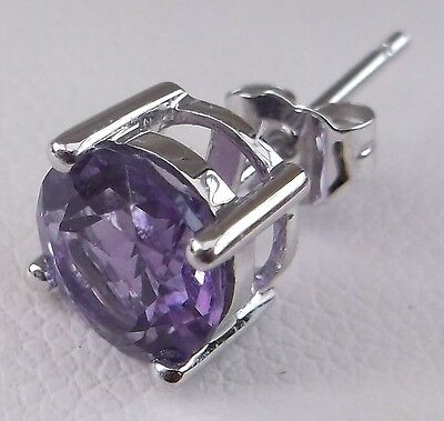 Stud Earrings: 18ct White Gold and 3.1 ct, 7mm Amethyst February Birthstone