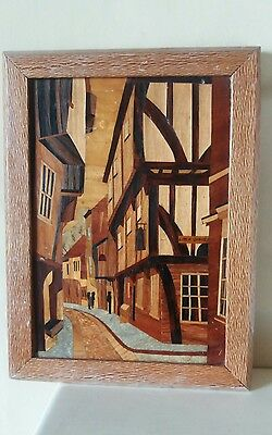 MARQUETRY PICTURE - Vintage York Yorkshire the Shambles.