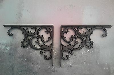 Pair Cast Iron Shelf Brackets Vintage Victorian Rustic Antique 8 x 6.25 Pair