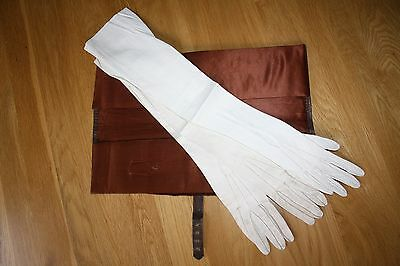 Antique Circa 1890 Silk Lined Leather Glove Case and 3 Long Kid Gloves