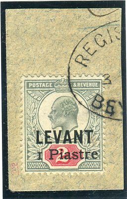 BRITISH LEVANT-1906 1pi on 2d Grey Green & Carmine VFU with certificate Sg 15