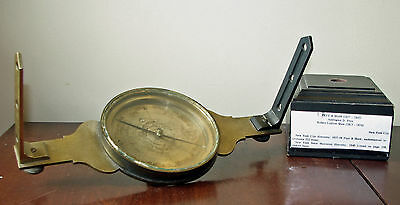 """12"""" Antique Brass Surveying Compass by Frye & Shaw, New York"""