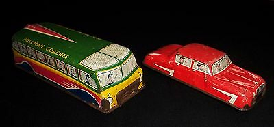 Nice 1950's Glam Toys Tinplate 'Pullman Coach No 553' & Red 'Saloon Car No 571'