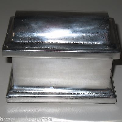 Mexican Pewter Jewellery Trinket Box Chest