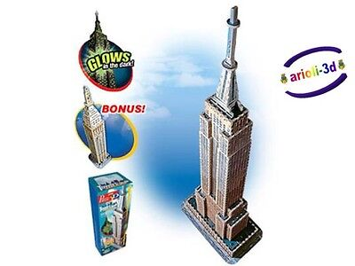 Puzz 3D Empire State Building Towers made to scale 30'' + bonus 569pcs WREBBIT