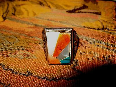 Vintage Old Pawn Zuni Sunrise Inlay Silver Ring Mens