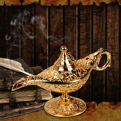Metal Aladdin Lamp Oil Magic Genie Vintage Tea Pot Arabian Arts Craft 21x7x11cm