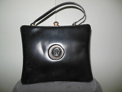 Vintage 1940'S Black Leather With Black  Cameo & Clasp Handbag Purse