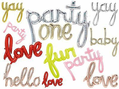 "Party Script Foil Balloon Words Birthday Wedding Baby Love Decorations 30""-47"""