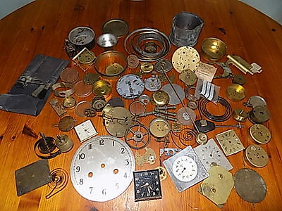 Collection Of Clock And Watch Parts~Oil~Faces~Cogs~Brushes~Spares