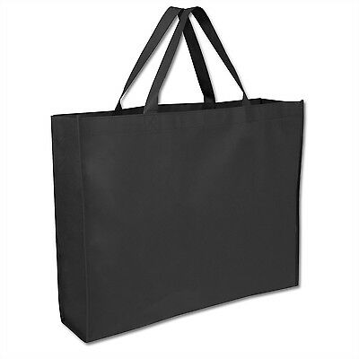 "Lot of 100 Wholesale 19"" Black Tote Bags Shopping Grocery Reusable Shopper Bag"