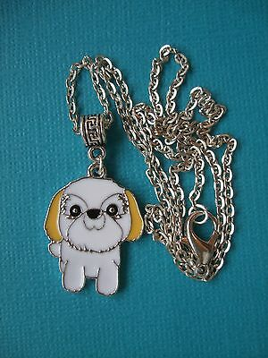 Handmade Lhasa Apso Dog Necklace & Pendant Puppy Metal Silver Tone Enamelled