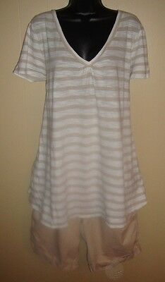 OLD NAVY / DUO Maternity 2pc Outfit Short Sleeve Blouse & Beige Khaki Shorts 2X
