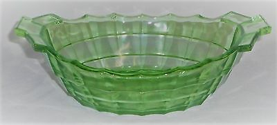 Indiana Glass TEA ROOM PATTERN Green Depression Vaseline OVAL SERVING BOWL