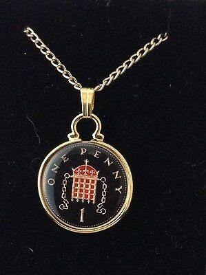 1999 Enamelled 1p Coin Pendant. Black/gold/red. 18th Birthday/Anniversary