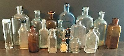 Old Vtg Antique Apothecary Medicinal Pharmacy Amber Aqua Glass Jar Lot Of 18