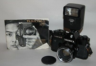 Yashica TL Electro X ITS 35mm Film Camera 50mm Lens Case Strap Flash Manual OEM