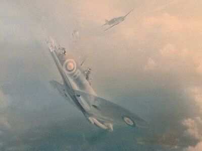 'Bader Bale Out' Frank Wootton Spitfire Limited Edition Print Signed By Bader