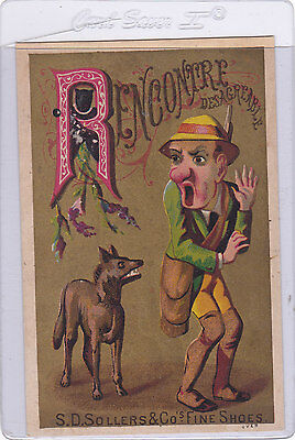 Victorian Trade Card S.d. Sollers & Co's Fine Shoes Letter R Dog And Man