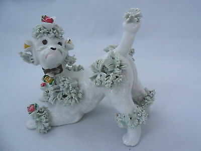 Vintage White Ceramic w/ Green Spaghetti & Pink Yellow roses Poodle Dog Figure