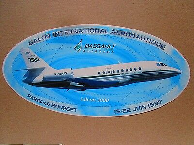 Autocollant Sticker Aufkleber Dassault Aviation Falcon 2000 Bizjet Bourget 1997