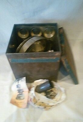 Vintage Biscuit Tin Filled with Baking Tins and Jelly Moulds