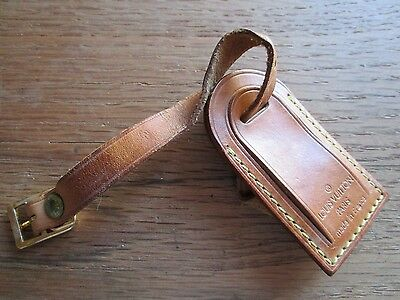 Vintage Louis Vuitton Tan Leather Luggage Travel Tag With Buckle Closure