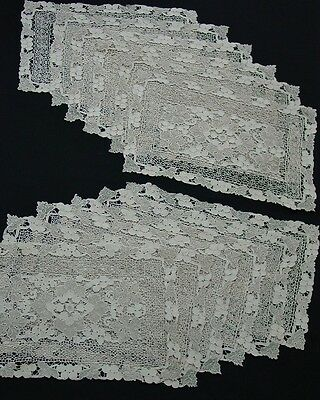12 Antique Italian Needle Lace Placemats- Ecru with Grapes and Grape Leaves