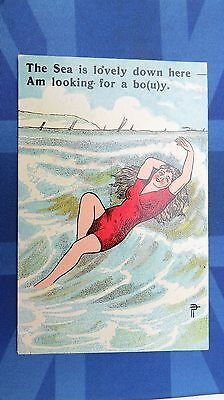 Vintage Risque Comic Postcard 1910s Bathing Beauty Looking For A BUOY BOY Theme