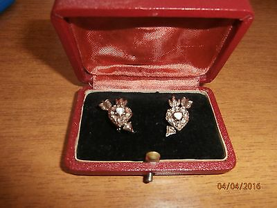 VINTAGE 9 ct GOLD EARINGS COVERED WITH OLDCUT DIAMONDS 0.35 ct TOTAL 5.82 GRAMS