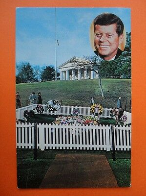 AK 1964 Grave of John F. KENNEDY President Washington USA Post Card Durham