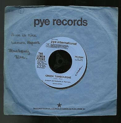 "THE LEMON PIPERS  GREEN TAMBOURINE  ORIGINAL UK 7"" 45rpm SINGLE  VERY GOOD"