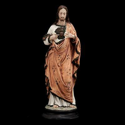 """Stunning 17"""" Large Antique Plaster Statue Sacred Heart Jesus Christ Our Lord 5"""