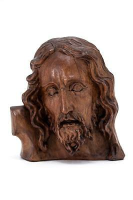 Magnificent Antique Carved Wood Jesus Christ Bust Wooden Our Lord Statue