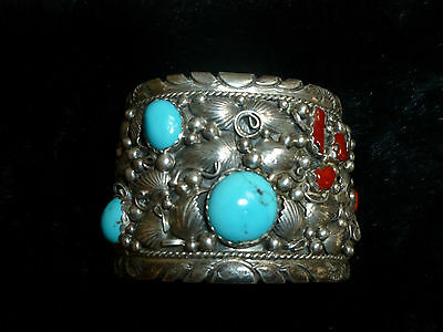 old pawn Native  Sterling Silver, Turquoise, and coral gemstones cuff bracelet
