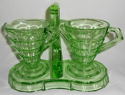 3 pc Set Indiana Glass TEA ROOM PATTERN Green Depression Vaseline CREAMER/SUGAR