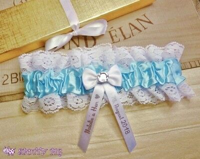 Personalised Lt Blue Garter Hen Night Handmade Lingerie Bow Crystal Gift Wedding