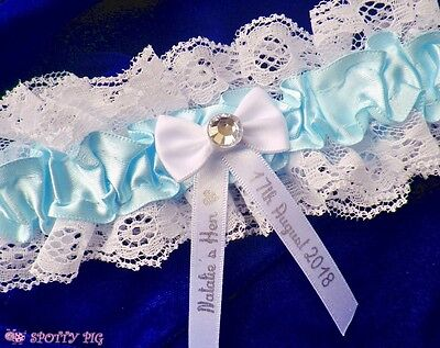Personalised Lt Blue Hen Night Garter Handmade Lingerie Bow Crystal Gift Wedding