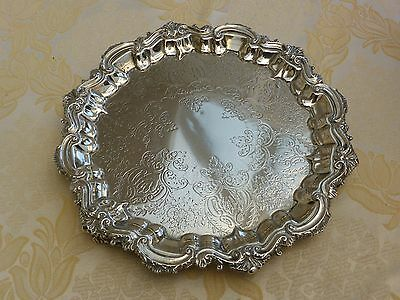 Art Deco Silver Plated Footed Floral Patterned Salver   #040217078/082