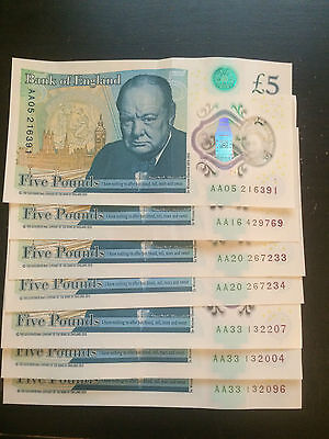 AA Brand New Bank Of England £5 Notes