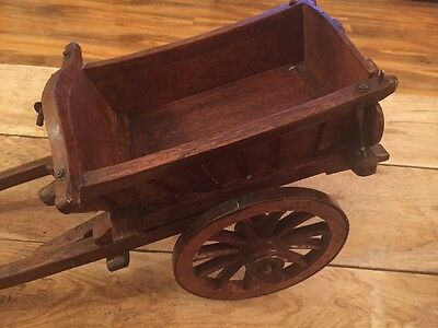 Vintage Wooden Cart Model Horse Drawn Gypsy Farm Tipping Cart