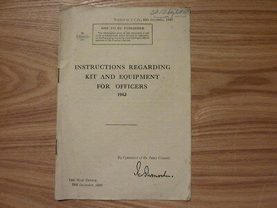 WW2 Instructions Regarding Kit and Equipment for Officers 1942